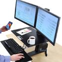 Convenient worksurface provides a complete workstation.