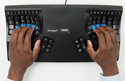 Kinesis Advantage2 Contoured Keyboard - top view with hand positioning