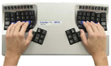 Advantage Contoured Keyboard - top view with hand positioning