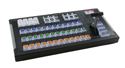 X-keys XKE-124 T-bar with our Video Switcher key set printed on clear acrylic keys.
