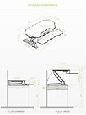 Eureka Sit-Stand Desktop 46 - Dimensions