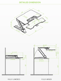 Eureka Standing Desk Converter 36 - Detailed Dimensions