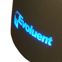 VerticalMouse 4 Small, Closeup of Backlit Evoluent Logo at Back of Mouse