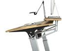 Closeup of Locus Standing Desk with Stay Flat Shelf