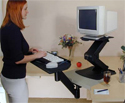 Sit-Stand Keyboard Arm - standing with monitor riser
