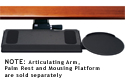 Humanscale 900 Keyboard Tray shown installed with articulating arm and optional mousing surface