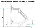 7500-Wing Dual Monitor Arm with 6