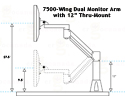 7500-Wing Dual Monitor Arm with  12