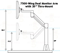 7500-Wing Dual Monitor Arm with 20
