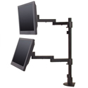 Long Reach Lateral LCD Arm on Pole, two monitors