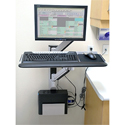 Wall Mounted Workstation with Vertical Mounting Track - in use, front view