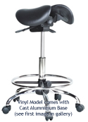 Kanewell Twin Adjustable Saddle Stool  - Shown with Optional Footring Accessory