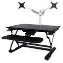 EasyLift Dual Monitor Arm on the Goldtouch EasyLift Sit/Stand Desk Pro