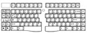Goldtouch Adjustable Keyboard - keyboard layout