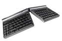 Goldtouch Go! Travel Keyboard - side view, tented and splayed