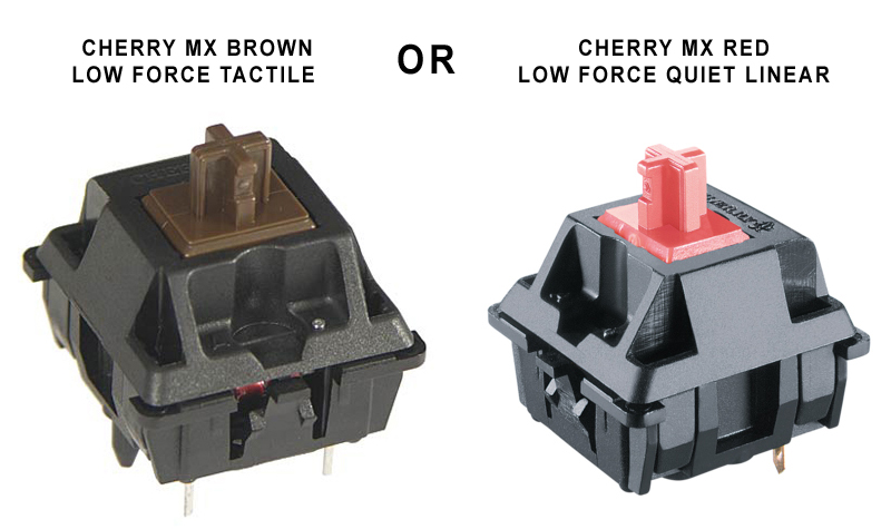 Low Force Tactile or Quiet Linear Mechanical Keyswitches