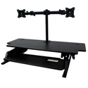 Volante Desktop Sit-Stand Workstation with Monitor Arm - Sitting with Keyboard Tilted