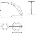 Luxo 360 Freestanding Task Lamp - Spec Drawing