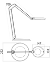 Luxo OVELO Freestanding Task Light - Spec Drawing