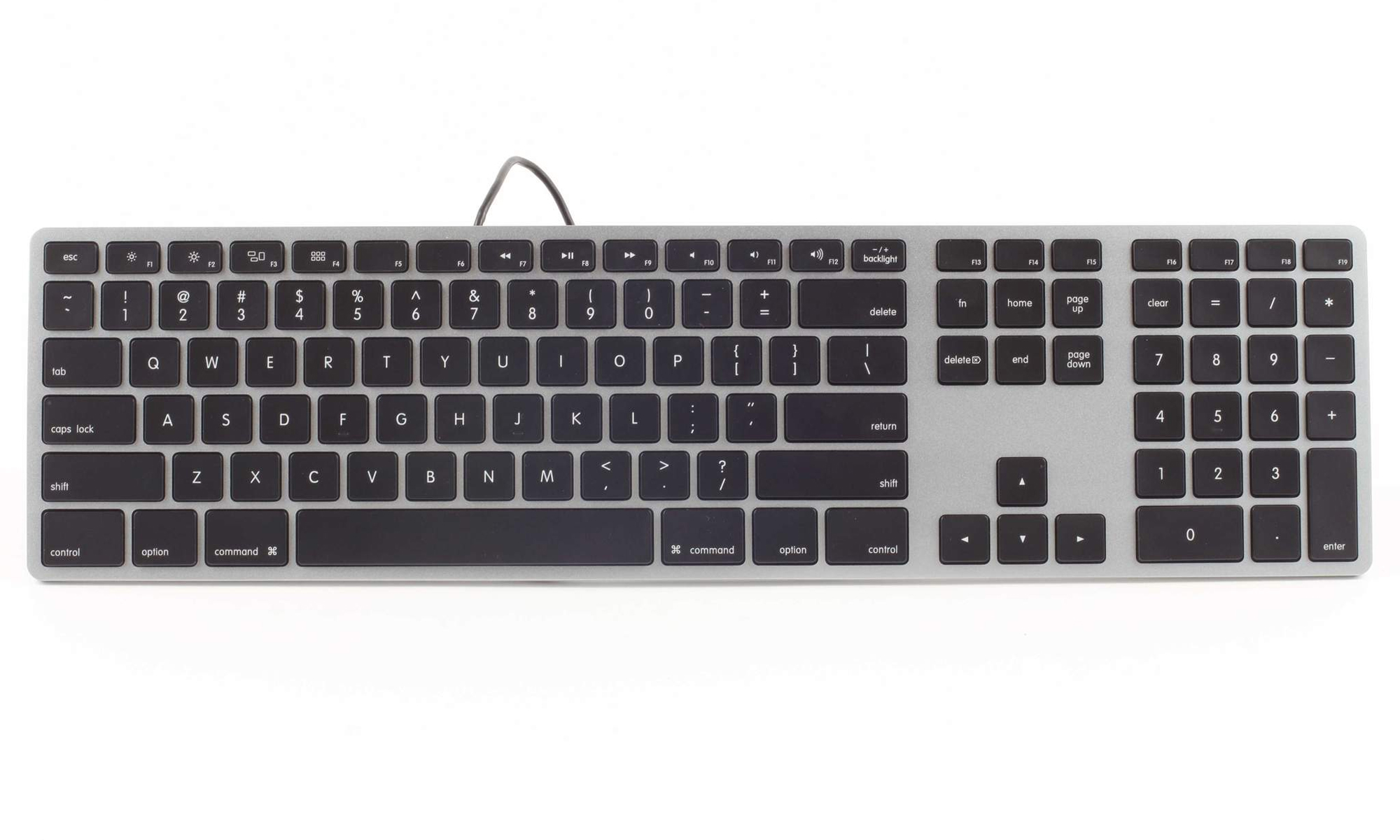 rgb backlit wired aluminum keyboard by matias ergocanada detailed specification page. Black Bedroom Furniture Sets. Home Design Ideas